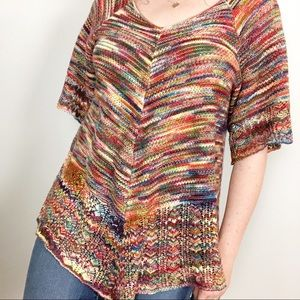 Sweaters - Multicolored Knitted Crochet Short Sleeve Sweater